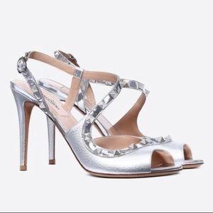 Valentino Rockstud Asymmetric Sandal Pumps